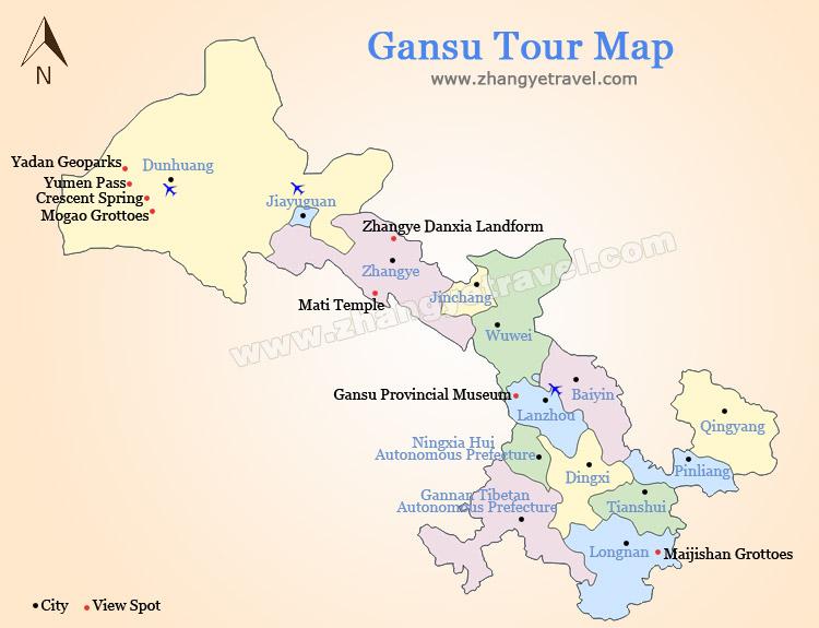 Gansu China Map.English Maps Of Zhangye Zhangye Danxia Map Gansu Silk Road Maps
